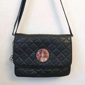 Vintage DKNY black leather quilted bag